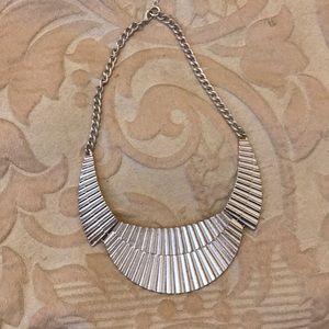 Bright Silver Bib Necklace